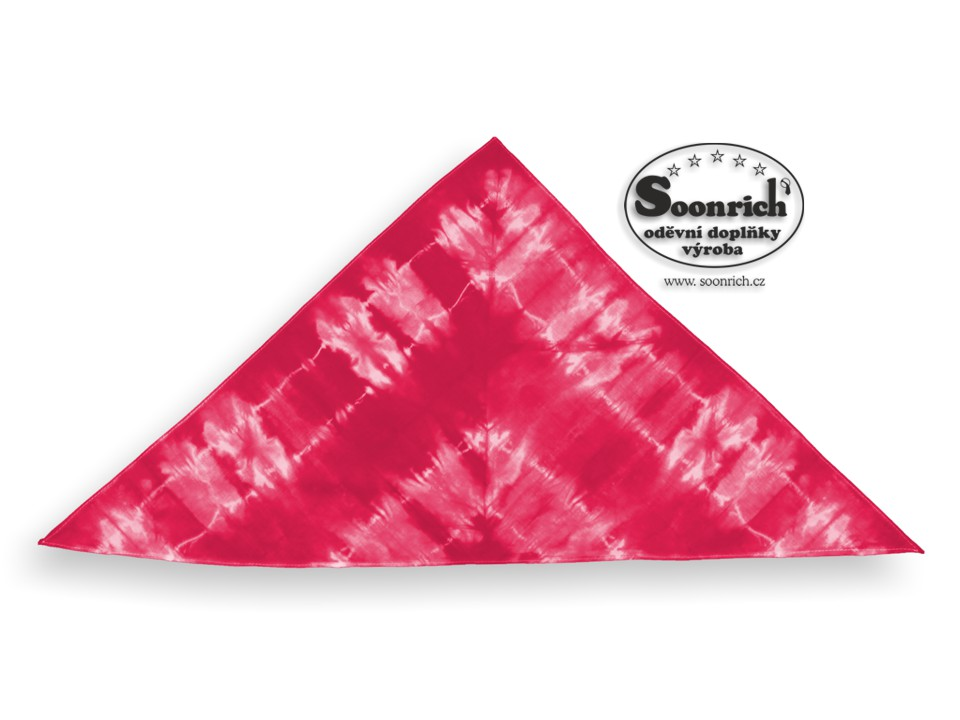 Soonrich, šátek batika červený třícípý, bsb005