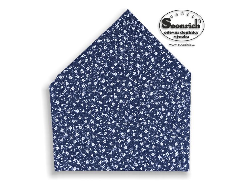 Soonrich, šátek dětský modré květiny, bsd145