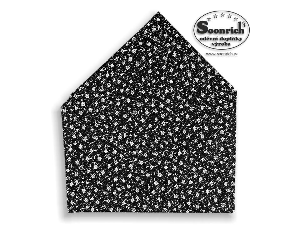 Soonrich, šátek dětský černé květiny, bsd153