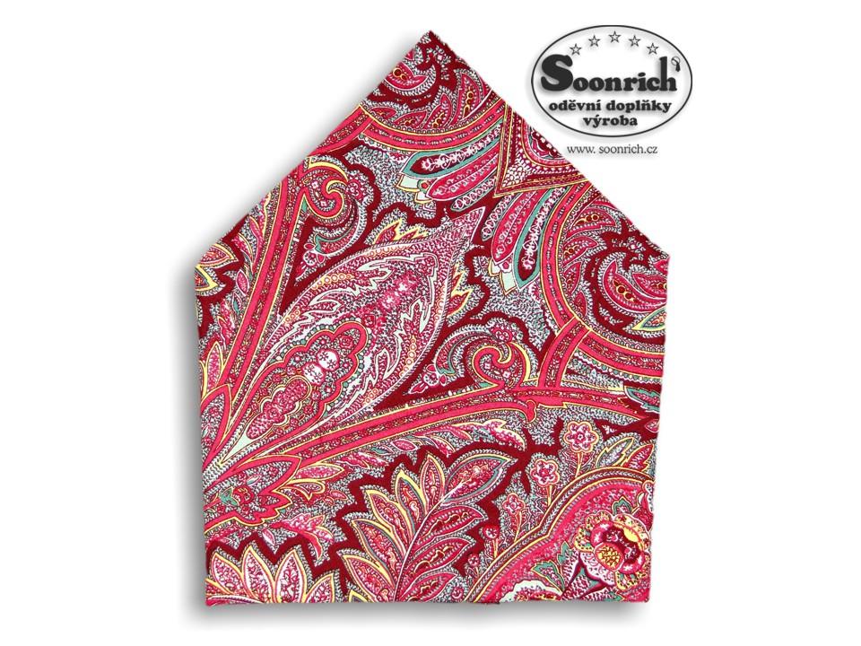 Soonrich, bavlněný šátek kašmírový červený, bso002