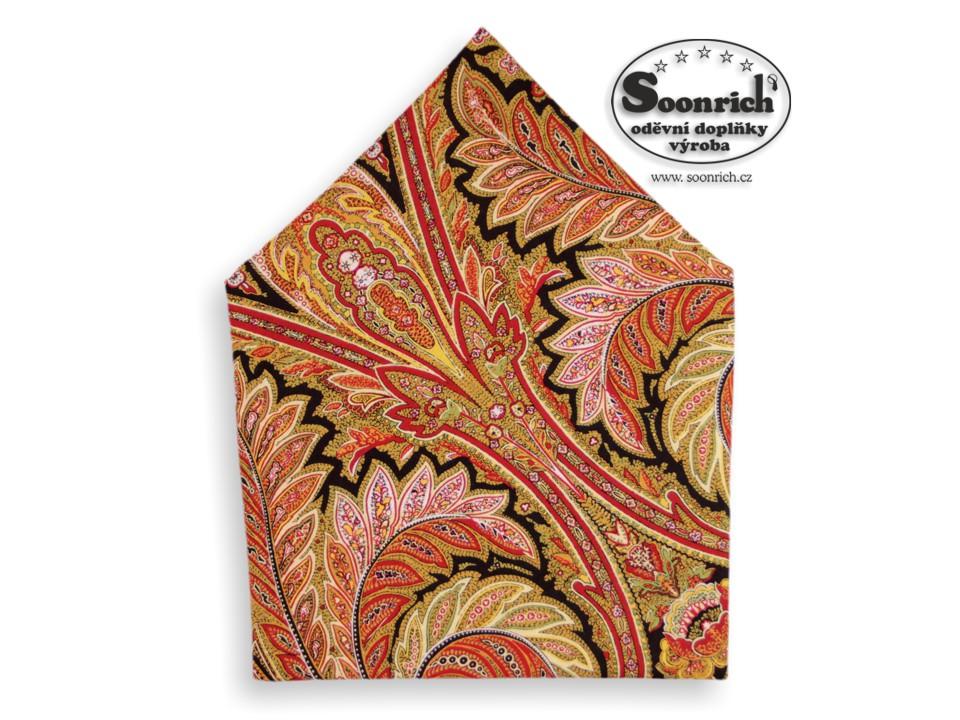 Soonrich, bavlněný šátek kašmírový oranžový, bso004