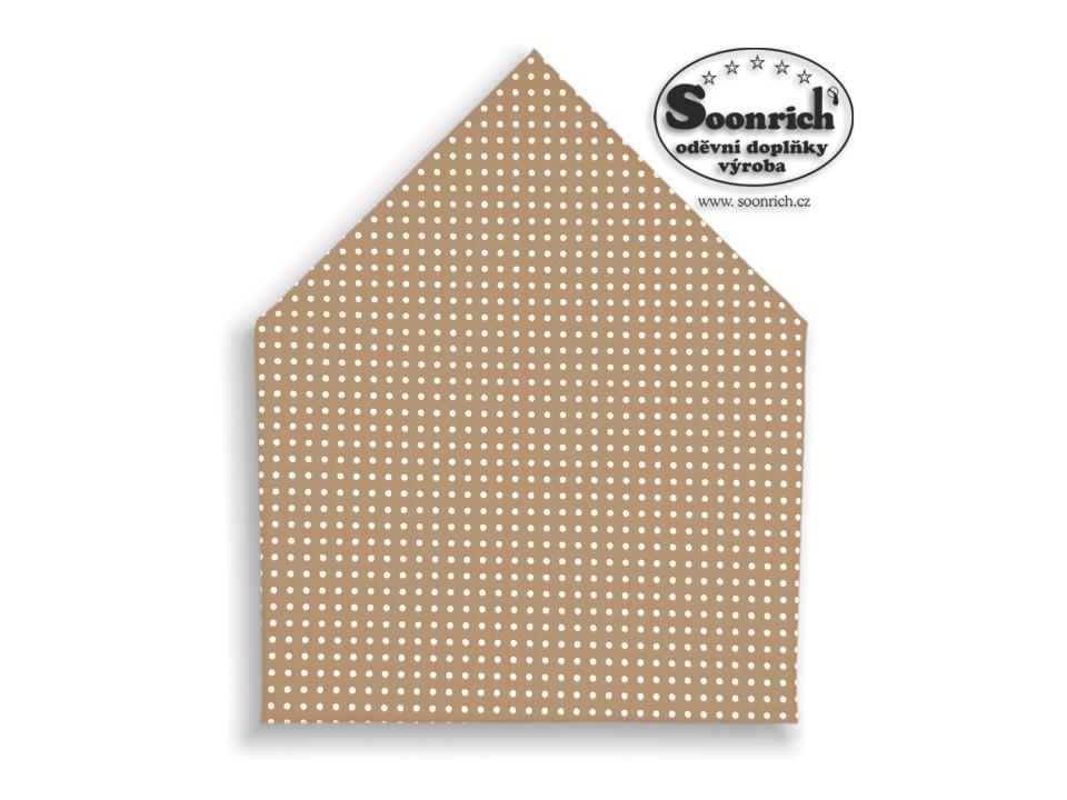 Soonrich, šátek bílý puntík na hnědé, bsp002