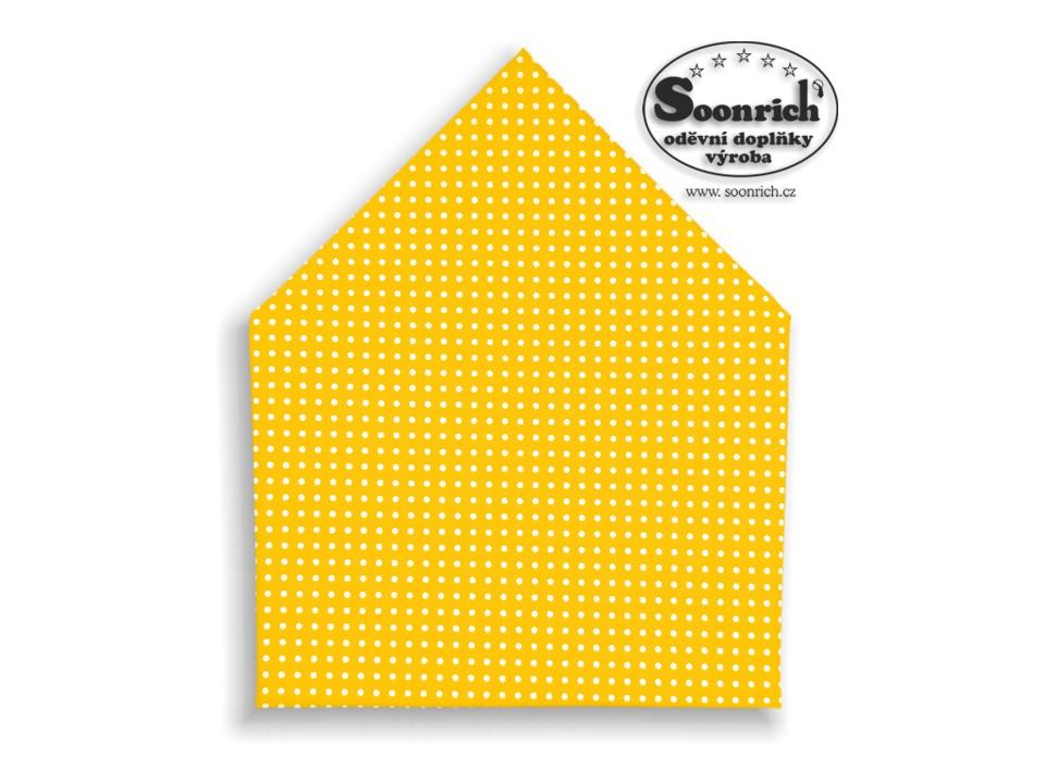 Soonrich, šátek bílý puntík na žluté, bsp006