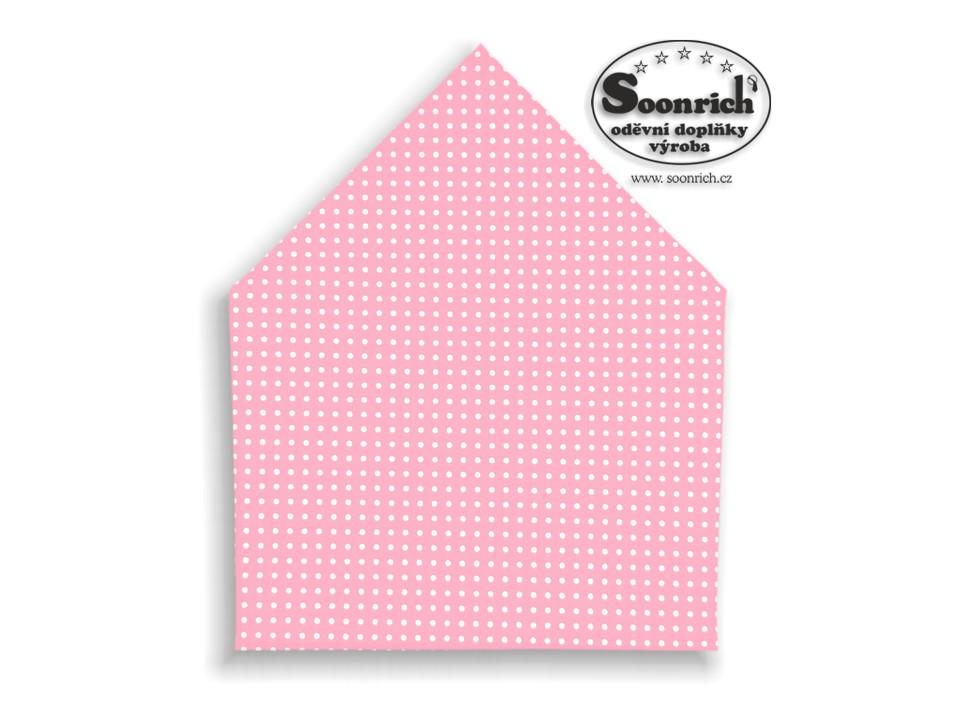 Soonrich, šátek bílé puntíky na růžové, bsp010