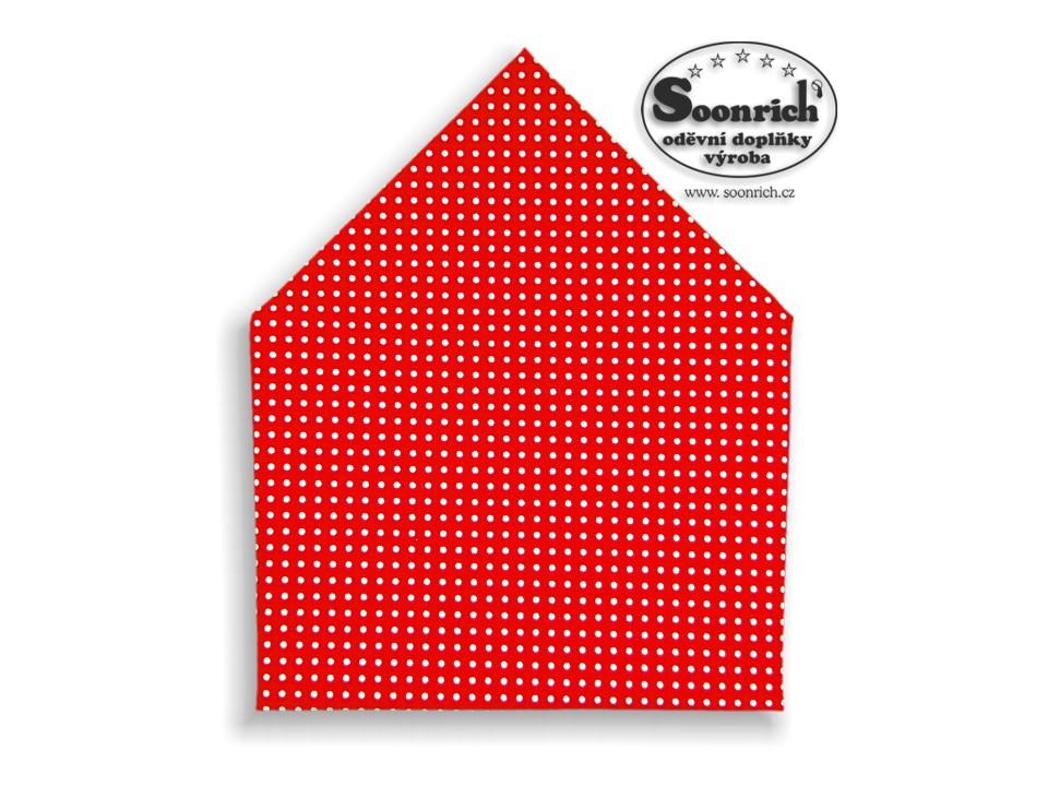 Soonrich, šátek bílý puntík na červené, bsp014
