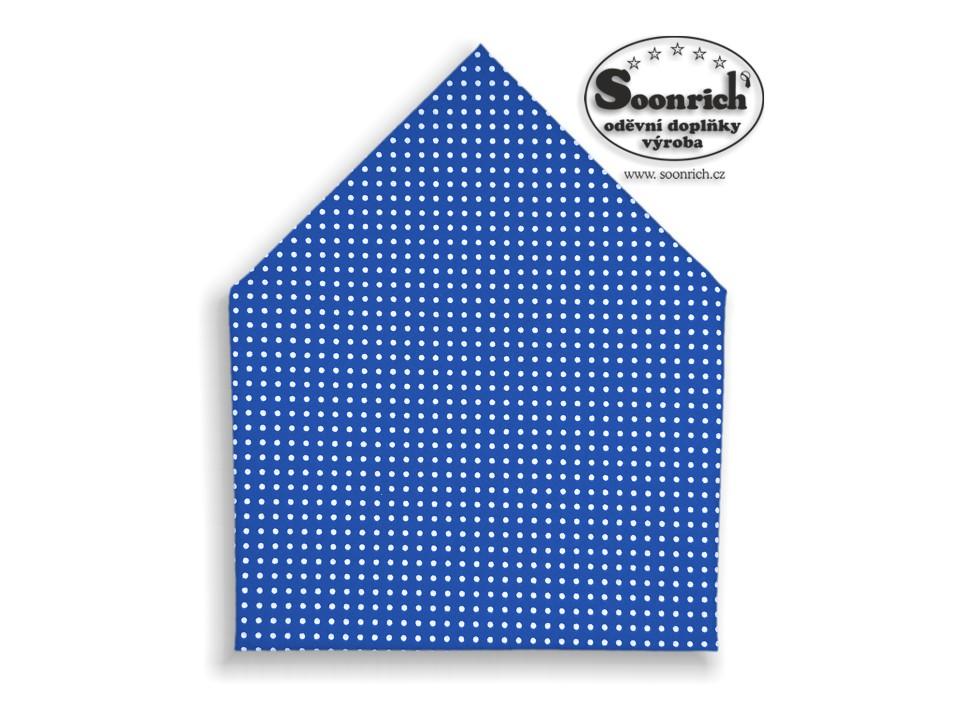 Soonrich, šátek bílý puntík na modré, bsp024