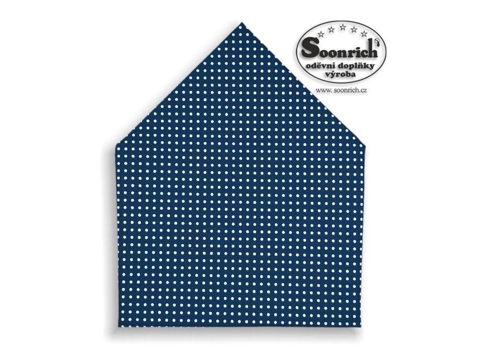 Soonrich, šátek bílý puntík na tmavěmodré, bsp026