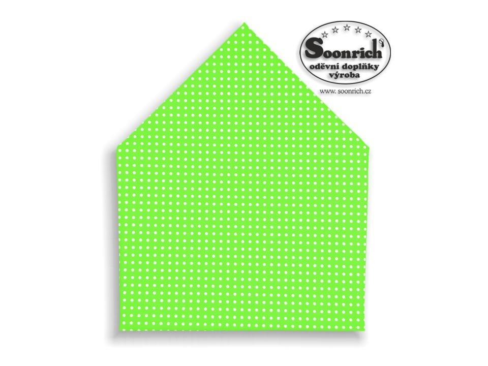 Soonrich, šátek bílé puntíky na zelené, bsp028