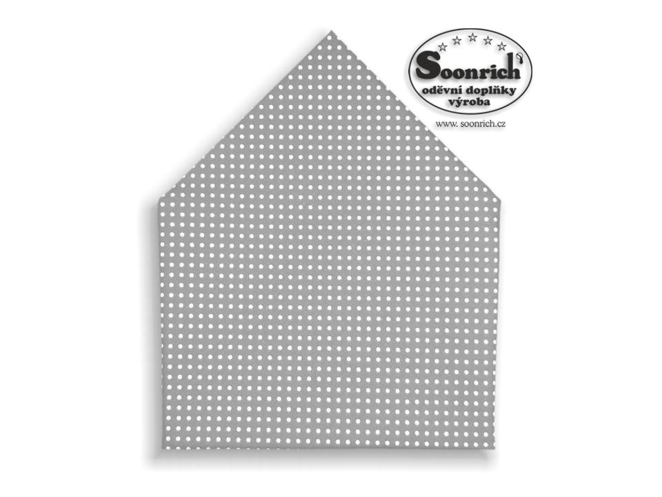 Soonrich, šátek bílé puntíky na šedé, bsp032