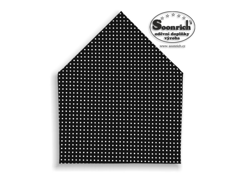 Soonrich, šátek bílý puntík na černé, bsp034