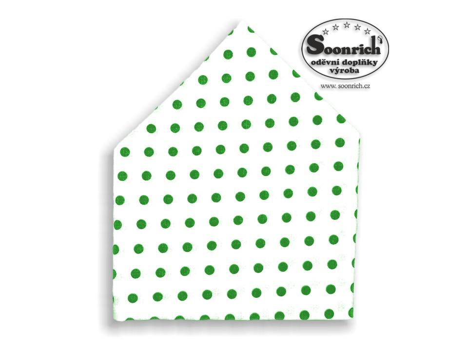 Soonrich, bavlněný šátek zelený puntík, bsp068