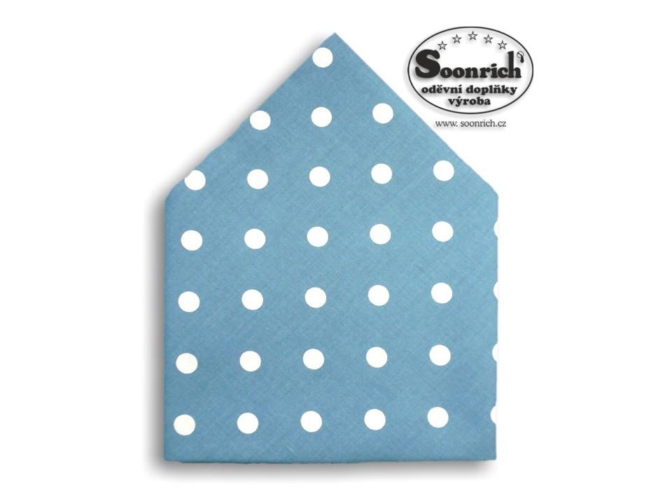 Soonrich, šátek puntíky na šedomodré, bsp076