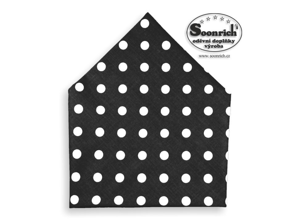 Soonrich, šátek puntíky na černé, bsp079