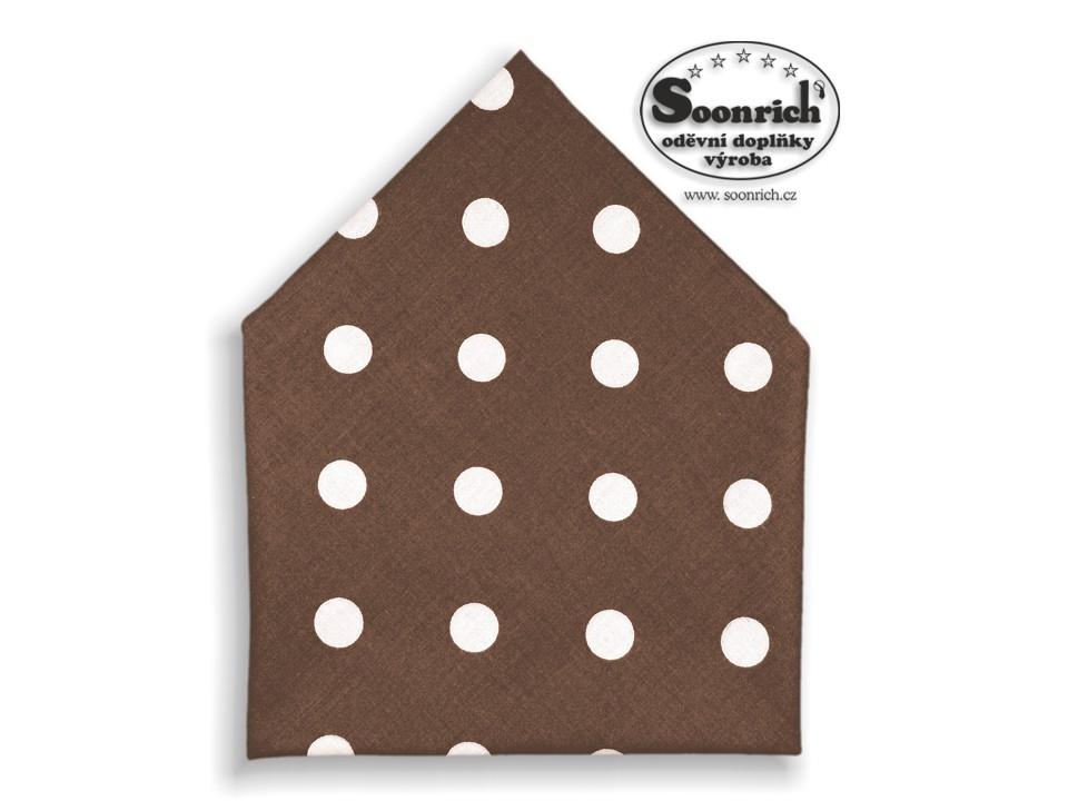 Soonrich, bavlněný šátek puntíky na hnědé, bsp083