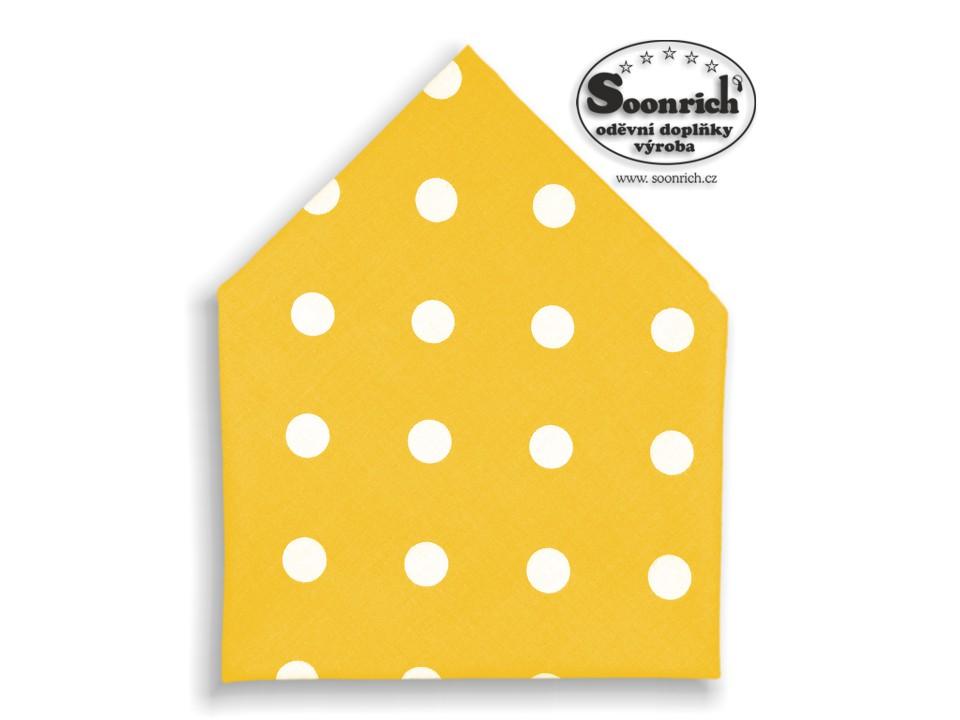 Soonrich, bavlněný šátek puntíky na žluté, bsp085
