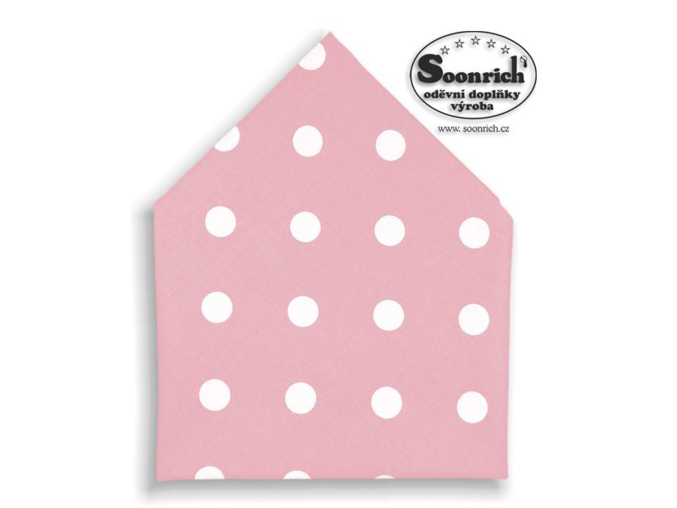 Soonrich, bavlněný šátek puntíky na růžové, bsp089