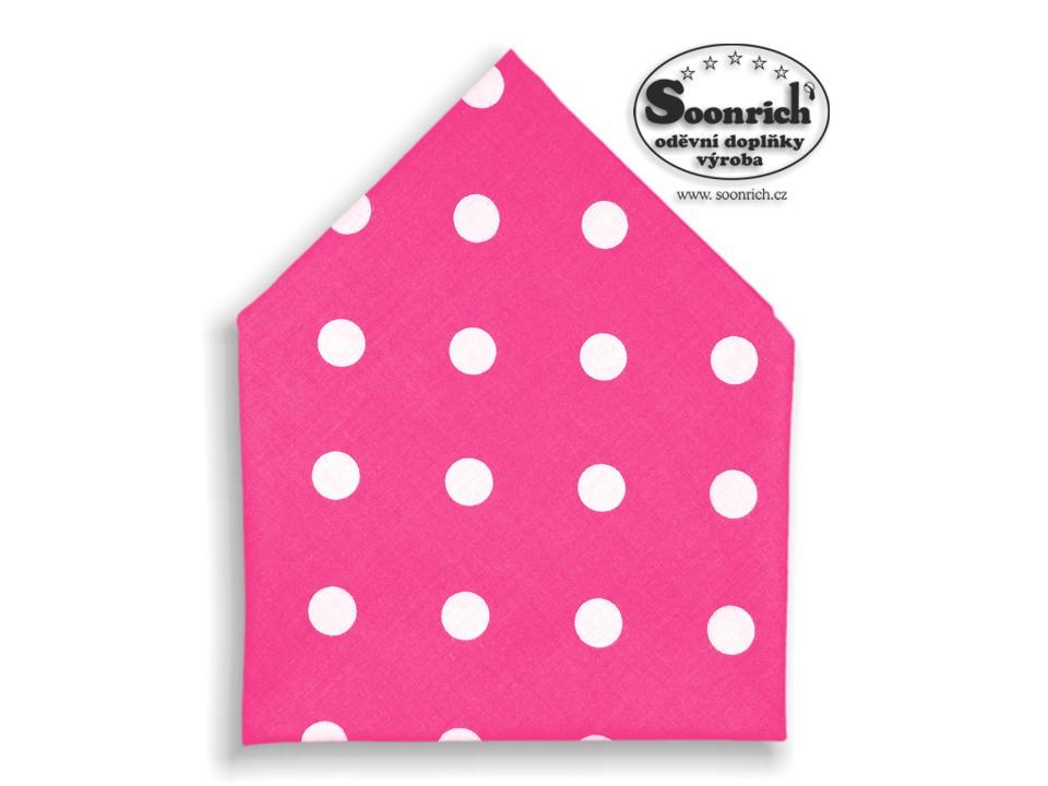 Soonrich, bavlněný šátek puntíky na růžové, bsp091