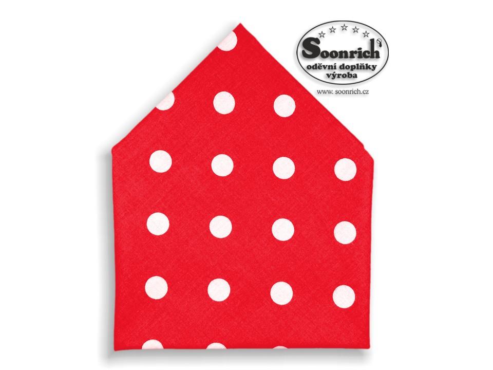 Soonrich, bavlněný šátek puntíky na červené, bsp093