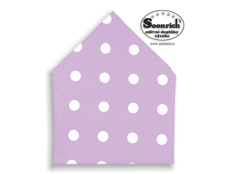 Soonrich, bavlněný šátek puntíky na fialové, bsp097