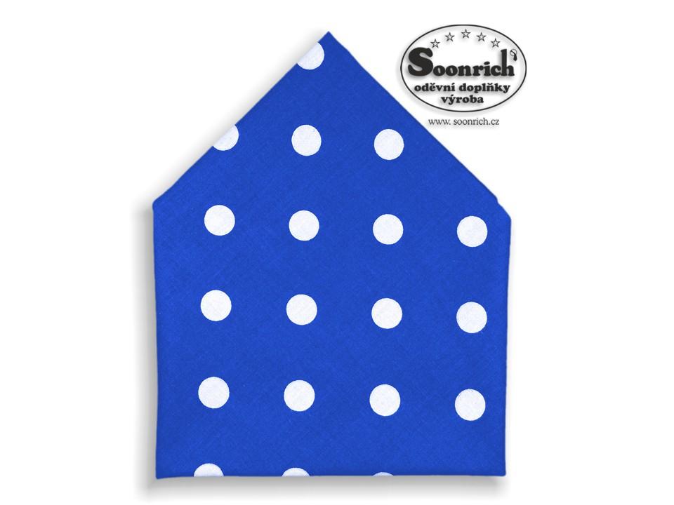 Soonrich, bavlněný šátek puntíky na modré, bsp103