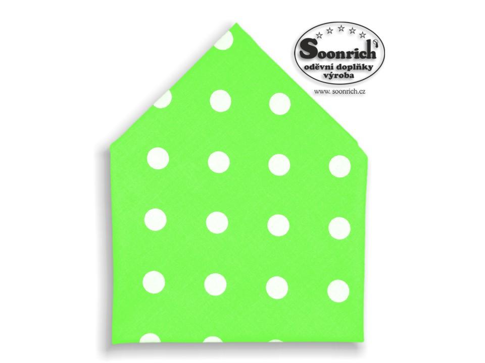 Soonrich, bavlněný šátek puntíky na zelené, bsp107