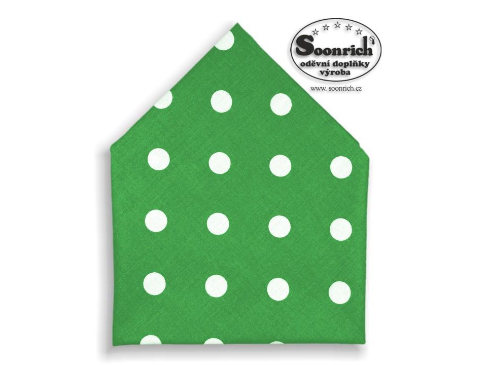 Soonrich, bavlněný šátek puntíky na zelené, bsp109