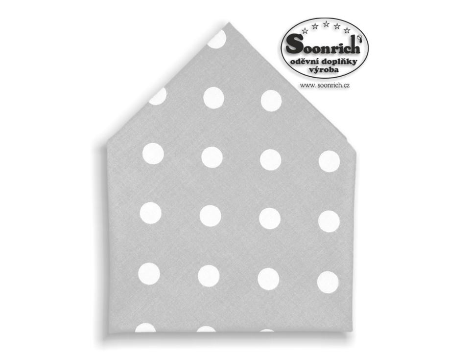Soonrich, bavlněný šátek puntíky na šedé, bsp111