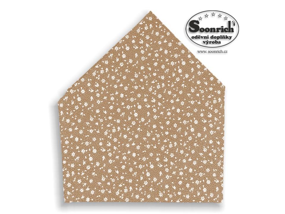 Soonrich, bavlněný šátek hnědý kytičky, bsp121