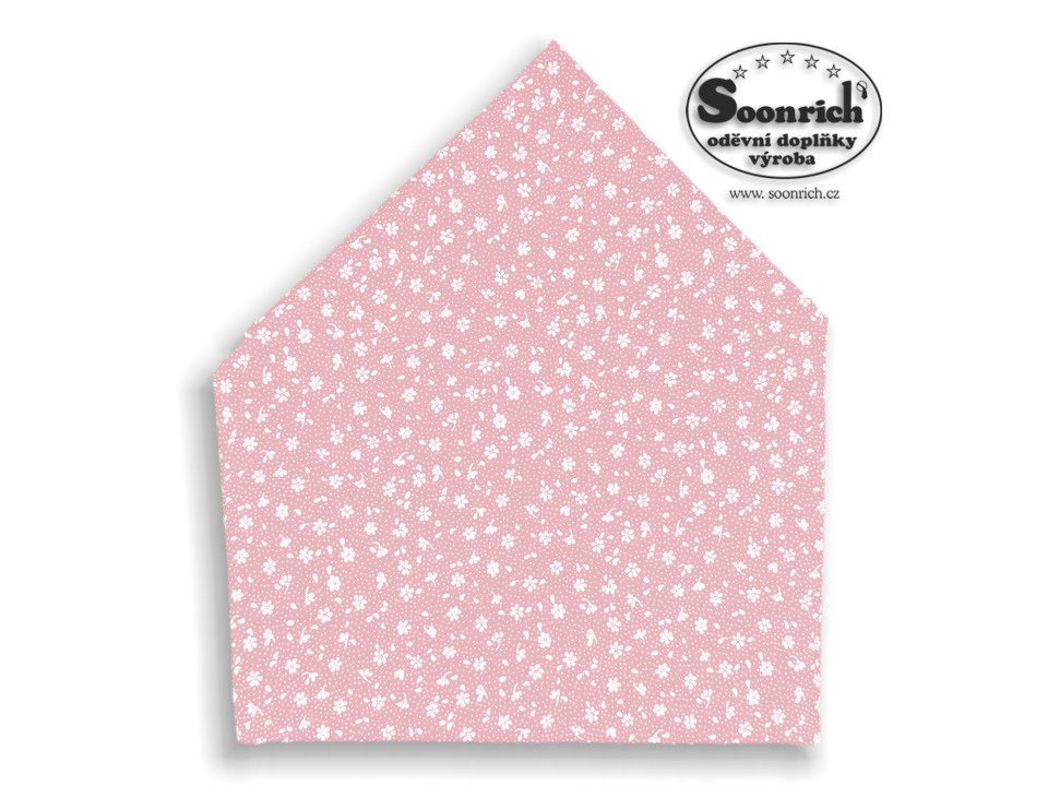 Soonrich, bavlněný šátek růžový kytičky, bsp129