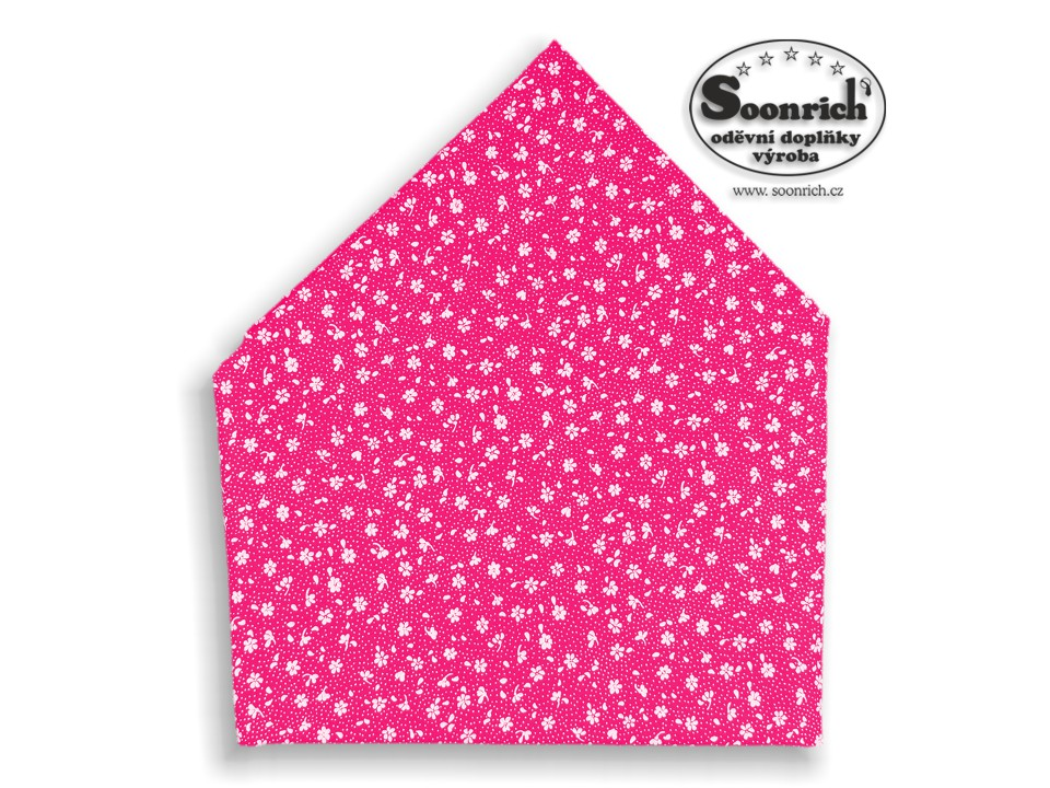Soonrich, bavlněný šátek růžový kytičky, bsp131