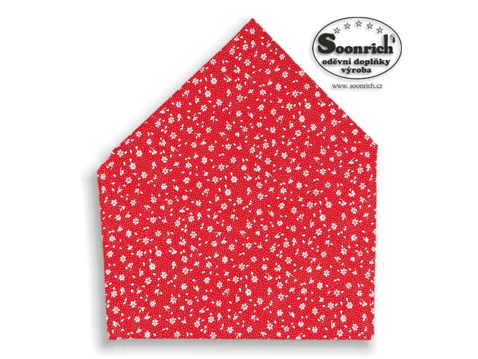 Soonrich, bavlněný šátek červený kytičky, bsp133