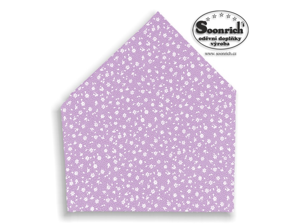 Soonrich, bavlněný šátek fialový kytky, bsp137