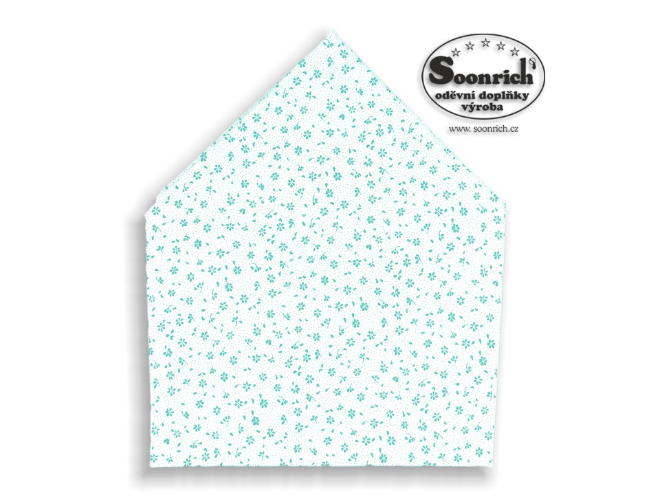 Soonrich, bavlněný šátek tyrkysová kytička, bsp140