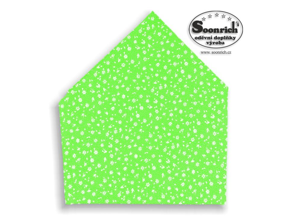 Soonrich, bavlněný šátek zelený kytičky, bsp147
