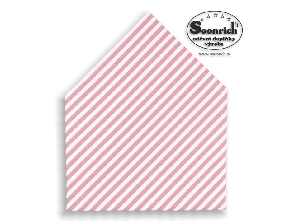 Soonrich, šátek růžový pruhovaný, bsp169