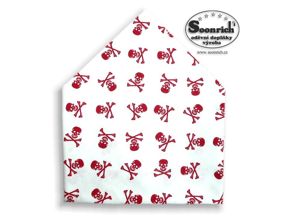 Soonrich, šátek červená lebka na bílé, bsp235