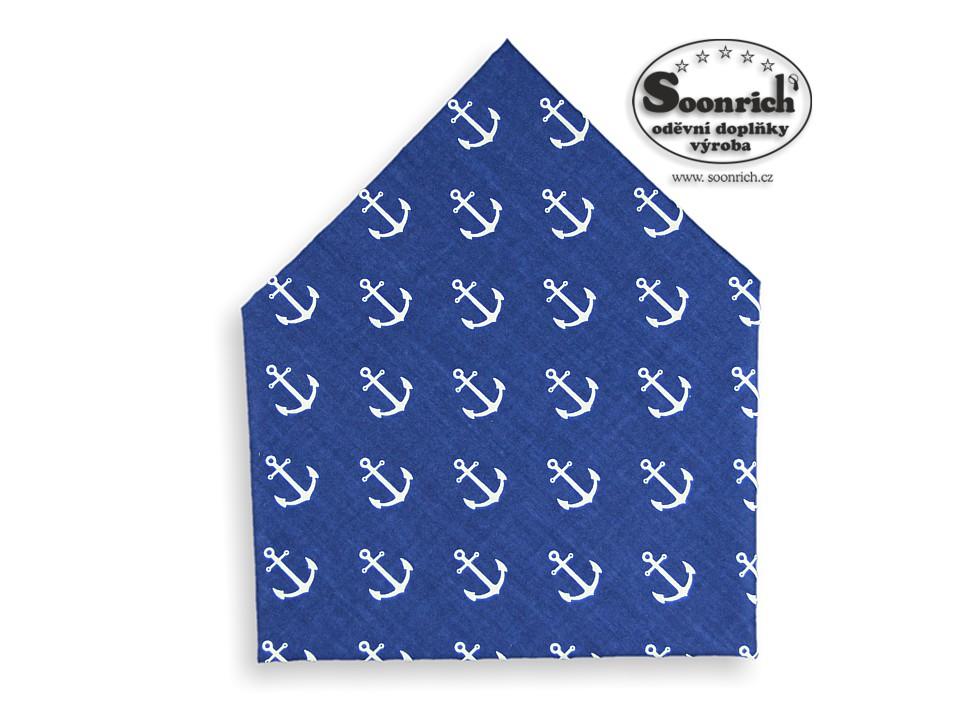 Soonrich, šátek kotvy na modré, bsp254