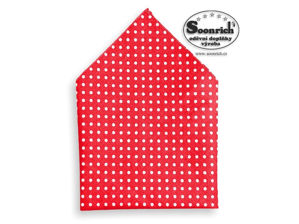 Soonrich, kapesník s puntíky červený, kaba014