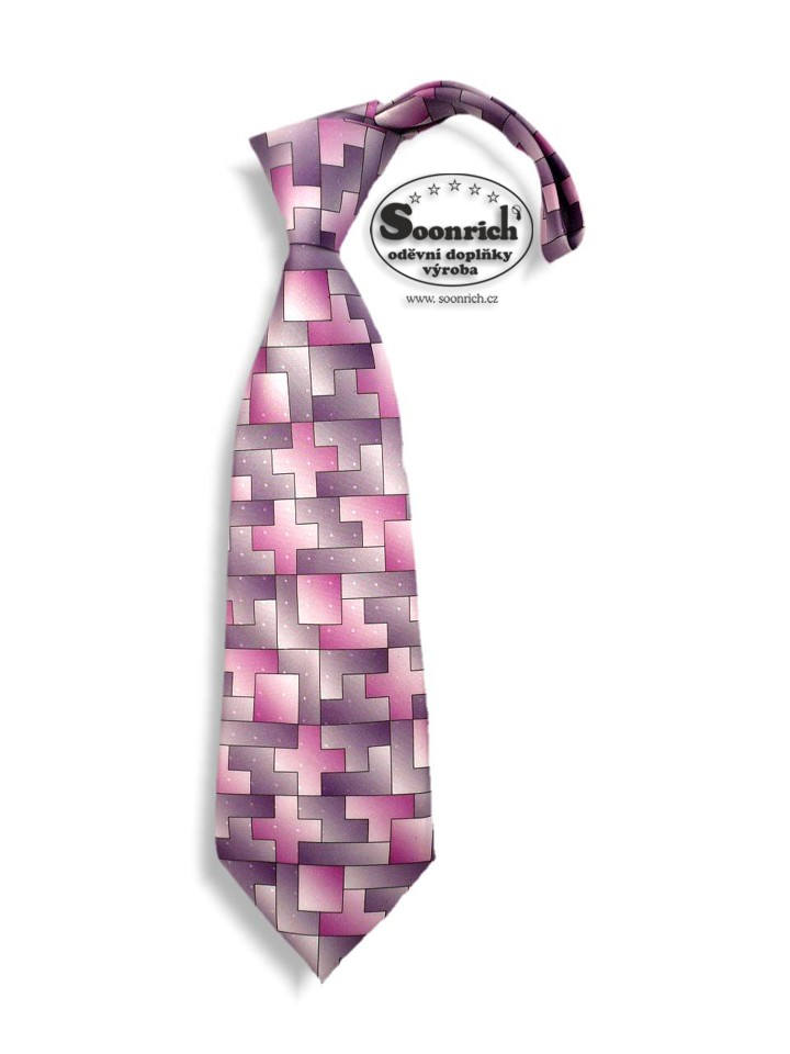 Soonrich, kravata fialová tetris, kor058