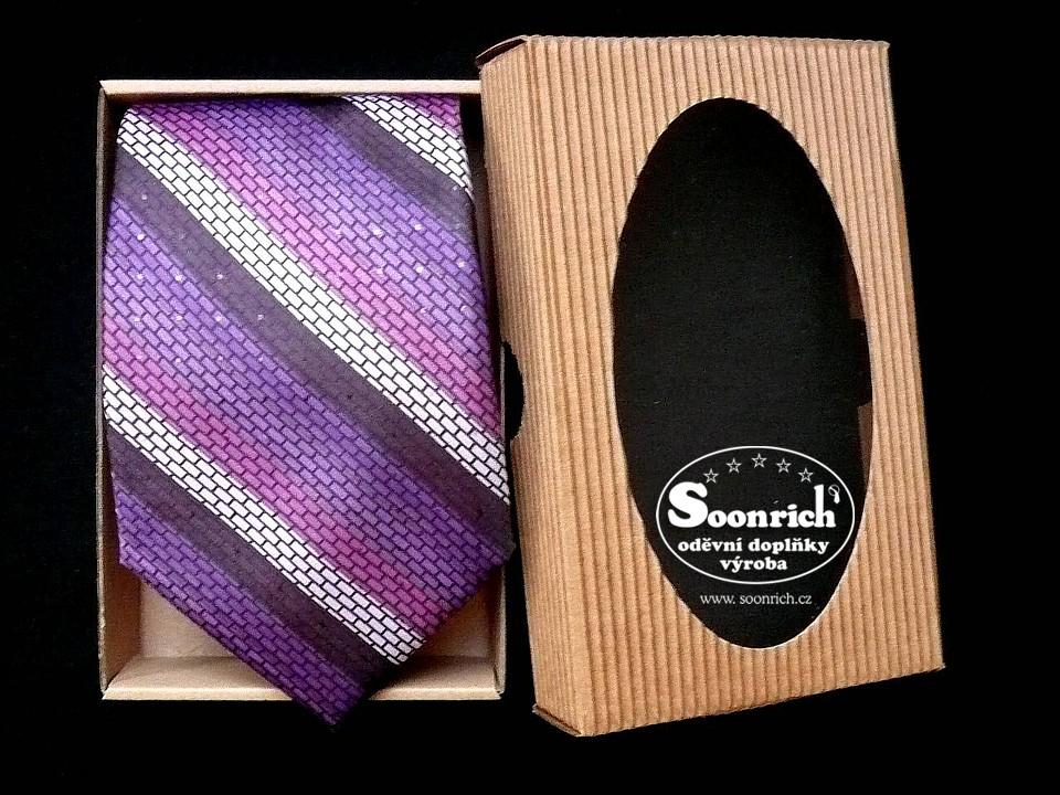 Soonrich, kravata pruhovaná fialová, kor076