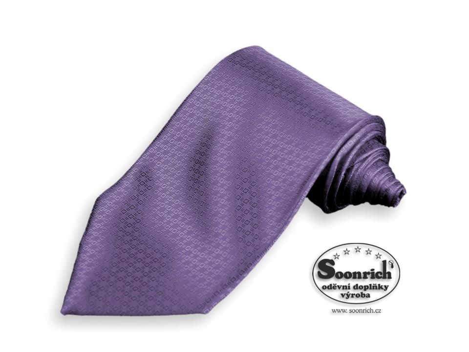 Soonrich, kravata tkaná fialová Paříž, kpa009