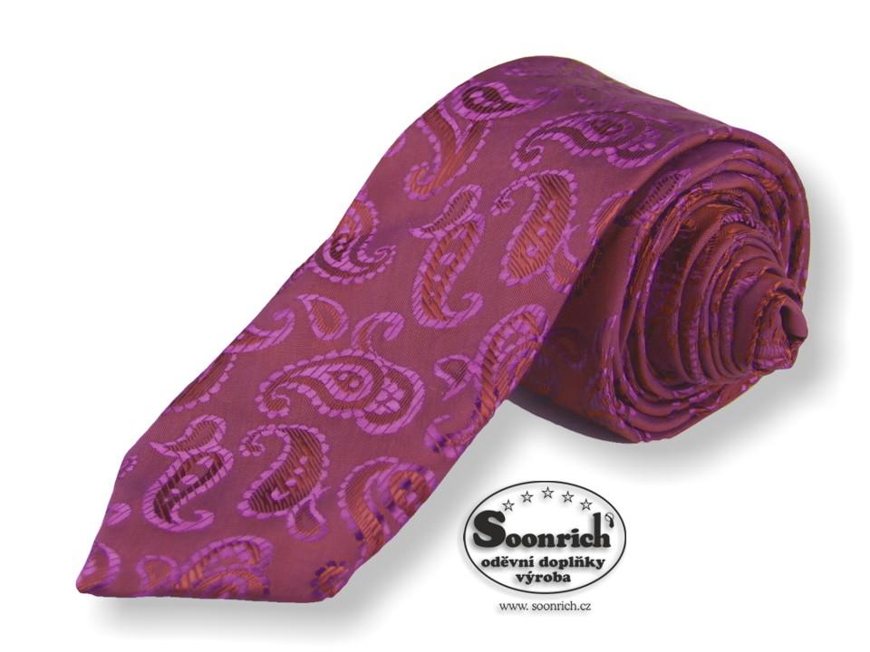 Soonrich, kravata úzká fialová kašmírová, ku023