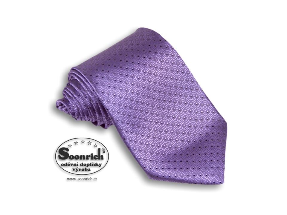 Soonrich, kravata tkaná fialová World, kwr006