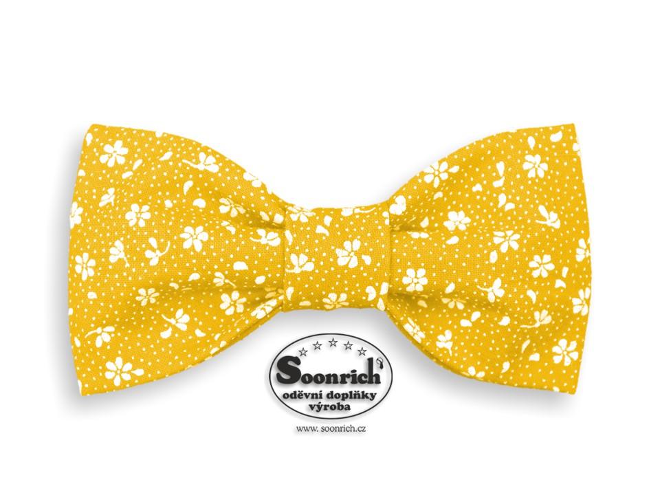Soonrich, bavlněný motýlek žlutý kytičky, mob125