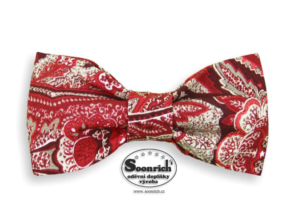 Soonrich, bavlněný motýlek kašmírový červený, mob302