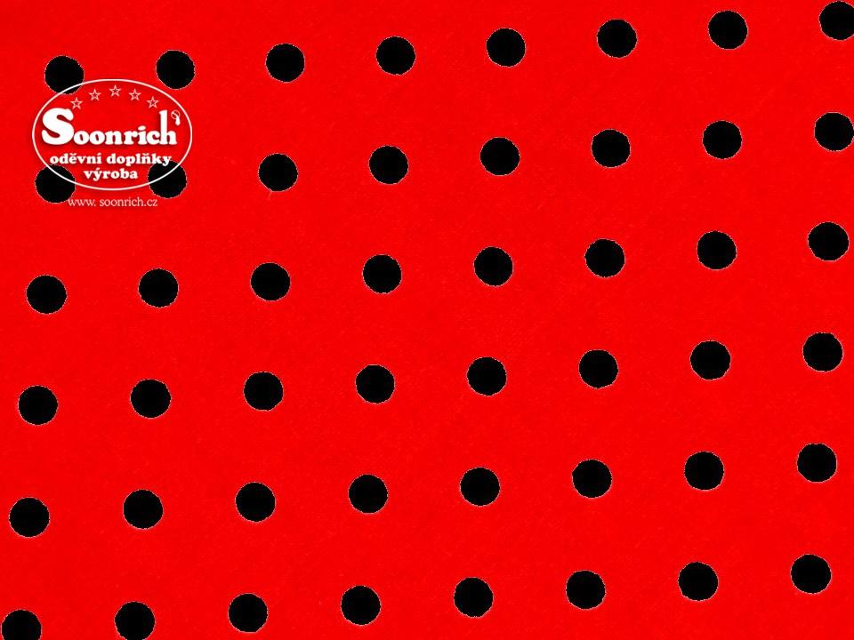 Soonrich, látka na patchwork černý puntík na červené, ptw074