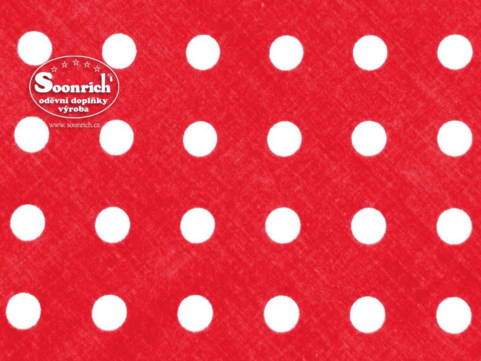 Soonrich, látka na patchwork bílý puntík na červené, ptw078