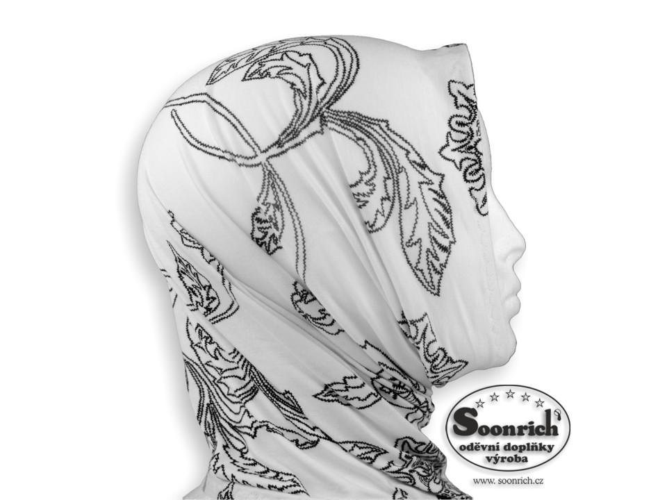 Soonrich, multifunkční šátek elastický bílý, sel002