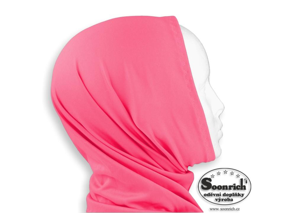 Soonrich, multifunkční šátek elastický růžový, sel026