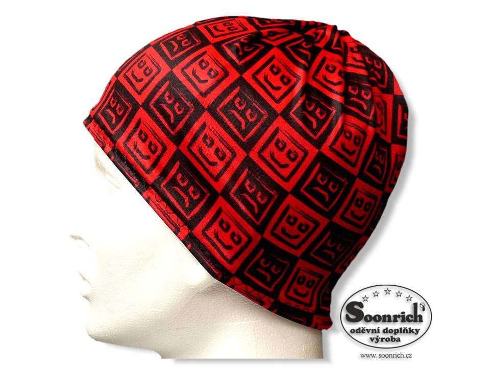 Soonrich, multifunkční šátek červený, smajlíci, seor003